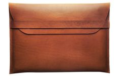 """I want this! I've been searching for a leather macbook air sleeve. They ONLY make stylish things for ipads now and nothing else. It's a wasteland out there. """"Your laptop can go fuck itself"""" - electronics case makers (Leather MacBook Air Sleeve - Kaufmann Mercantile)"""