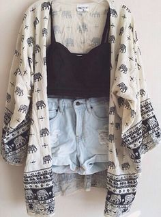 cardigan cute print whit blue elephant print tribal cardigan knitted cardigan