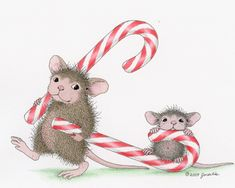 """""""Muzzy and Monica"""" from House-Mouse Designs® featured on the The Daily Squeek® for December 5th, 2012. Click on the image to see it on a bunch of really """"Mice"""" products."""