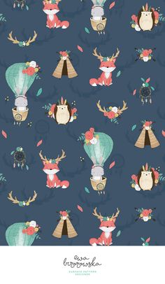 Boho Animals - navy textile pattern design in digital watercolor style with some bohemian animals - fox, bunny and hedgehog. Textile Pattern Design, Surface Pattern Design, Textile Patterns, Pattern Paper, Pattern Art, Wallpaper Kawaii, Trendy Wallpaper, Wallpaper Iphone Cute, Cute Wallpapers