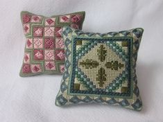 2 Canvas work pincushion patterns, PDF needlepoint patterns, hand embroidery pattern, Instant download