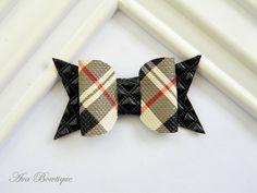 Bow Hair Clip - Baby Hair Bow - Baby Hair Clip - Plaid Bow Clippie - Black Bow Hair Clip by AvaBowtiquee on Etsy