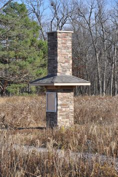 Chimney Swift Tower built in the Prairie Garden, completed Nov. 2012. Hopefully we will have chimney swifts making a home in there next spring.