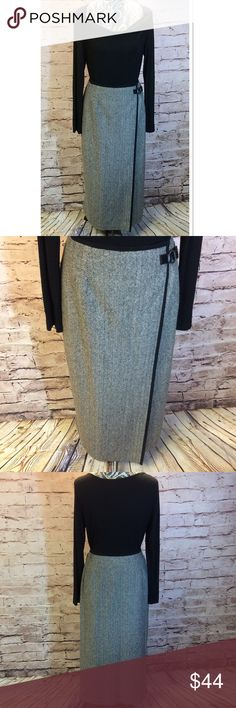 TALBOTS PETITE HERRINGBONE MAXI WRAP STYLE SKIRT This is stunning and perfect for styling in si many ways. Beautiful HERRINGBONE pattern in a WRAP style. Like new, fully lined. 56% wool 36% Nylon 8% silk Talbots Skirts Maxi