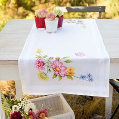 Runner Flowers and flying butterflies From Vervaco - For home - Embroidery - Casa Cenina