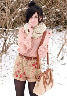 Floral cream shorts with pink shirt and cream scarf