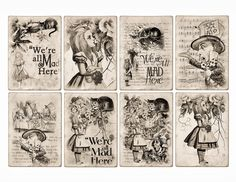 Free Alice In Wonderland ATC Tags Background Digital Collage Sheet