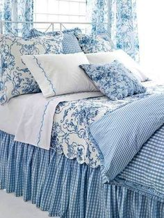 Bedroom Blue And White French Country.Blue Toile Add A Blue And White Vertical Striped Bed . Gray Wash Wood Bed With Iron Canopy And White Cabriole . Home and Family Blue Rooms, White Bedroom, Dream Bedroom, Girl Rooms, Toile Bedding, Blue Bedding, Blue And White Bedding, Bedding Sets, Bedroom Comforters