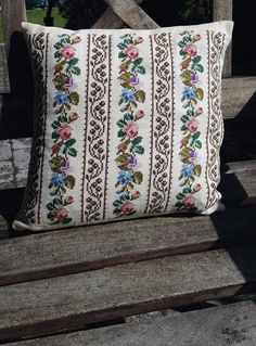 Vintage Scandinavian Embroidered Pillow Cover with Pink, Blue and Purple Flower Pattern / Handmade in the Denmark  / 1950's or 1960's