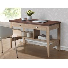"""Baxton Studio Fillmore Sonoma Oak Finishing Modern Writing Desk - Overstock™ Shopping - Great Deals on Baxton Studio Desks $155 width 47"""" depth 23"""" Has 2 drawers and 2 places for bins!"""
