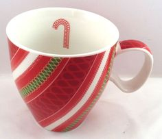 Starbucks Ribbon Candy Cane Coffee Tea Cup Red Green White 2005 #Starbucks