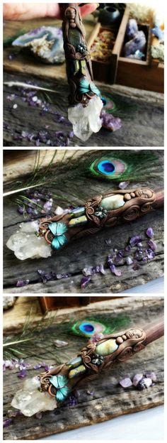 Quartz Point Wand with Butterfly Medicine by TRaewynJewelry