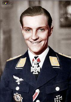 Oberleutnant Hans-Joachim Marseille, on leave in Germany in June 1942   (13 December 1919 – 30 September 1942)