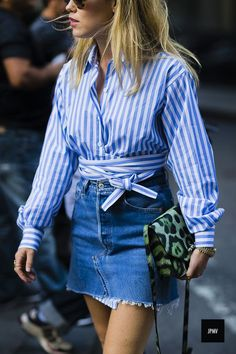 46 Epic Denim Street Style Looks From New York Fashion Week Fashion Mode, New York Fashion, Denim Fashion, Star Fashion, Look Fashion, Fashion Outfits, Fashion Trends, Fashion Bloggers, Womens Fashion