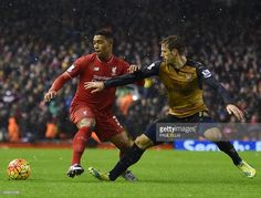 Liverpool's English midfielder Jordon Ibe (L) vies with Arsenal's Spanish defender Nacho Monreal during the English Premier League football match between Liverpool and Arsenal at Anfield stadium in Liverpool, north-west England on January 13, 2016. ELLIS