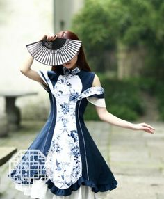 Stunning qi lolita dress with gorgeous design and cute frills. One of my favorite style is Lolita fashion. K Fashion, Kawaii Fashion, Lolita Fashion, Cute Fashion, Asian Fashion, Fashion Design, Pretty Dresses, Beautiful Dresses, Moda Lolita