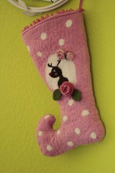 felted Nikolausstiefel - Nikolausstiefel , rosige Weihnacht, gefilzt, rosa - ein Designerstück von Sternenfeuer bei DaWanda