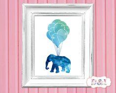 Elephant Balloons - Watercolor Wall Art Print ~ Instant download, JPG PDF Printable