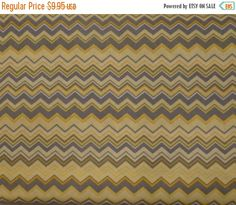 50% OFF FINAL SALE Chevron Yellow Gray and White Small Chevrons by Ae Nathan Fabric By the Yard