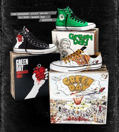 THE CONVERSE CHUCK TAYLOR ALL STAR GREEN DAY #SNEAKER #shoes. I saw the converse dookie shoes at dress code... I WANT them!!!!