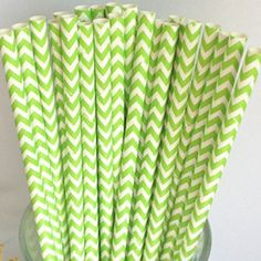 Green Chevron Striped Paper Staws from The Sugar Diva, love these...!!!