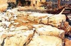 John Singer Sargent - San Vigilio 1913 - The Athenaeum John Singer Sargent Watercolors, Film France, Art Academy, Art Database, Reproduction, Old Master, Exterior Paint, Portrait, American Artists