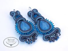 Earrings made with the soutache embroidery technique. using blue jade. Earrings size: ca 3 cm x 6 cm (1,6 x 2,3 in). (Total length 8 cm - 3 in) The