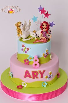 Tort cu Mia si Oliver pt Ary Baby Cakes, Girl Cakes, Beautiful Cakes, Amazing Cakes, Girly Birthday Cakes, Cake Creations, Custom Cakes, Cake Cookies, Party Themes