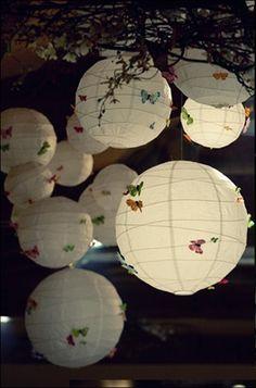 boule en papier chinoise ou japonaise avec papillons