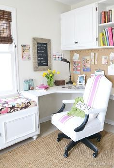 like the desk corner, the cabinets/shelves above, the use of pegboard, and the WINDOW SEAT!