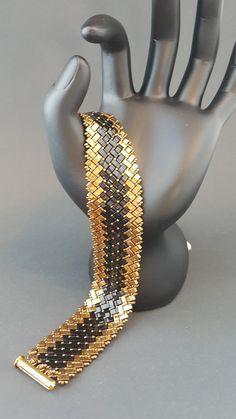 Black and Bronze Half Tila Bead Bracelet