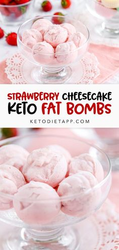 The original recipe for strawberry cheesecake fat bombs. These low-carb bite-sized treats taste like frozen strawberry cheesecake! #lowcarb #keto #fatbombs Strawberry Cheesecake, Strawberry Recipes, Pumpkin Cheesecake, Low Carb Desserts, Low Carb Recipes, Healthy Recipes, Health Desserts, Cheesecake Fat Bombs Keto, Cheesecake Recipes