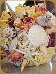 Items Similar To Sale Wedding Bouquet With Sea Shells And Flowers Beach Nautical