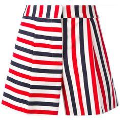 Thom Browne Striped Mini Shorts (£805) ❤ liked on Polyvore featuring shorts, cotton shorts, short cotton shorts, micro shorts, short shorts and hot cotton pants