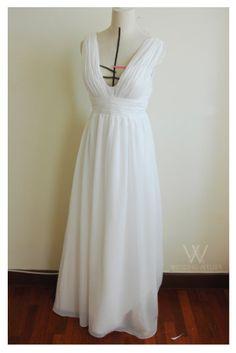 Greecian Chiffon Wedding Dress. $420.00, via Etsy.