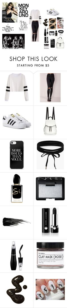 """BLACK&WHITE"" by elma-432 ❤ liked on Polyvore featuring adidas Originals, rag & bone, Boohoo, Giorgio Armani, NARS Cosmetics, Urban Decay, Marc Jacobs, Fig+Yarrow, Disney and cute"