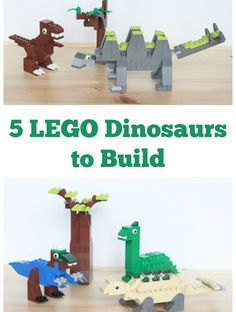 Five LEGO Dinosaurs to Build! Awesome LEGO building ideas for kids. Great for a rainy day or a LEGO club. Lego Duplo, Lego Club, Legos, Projects For Kids, Crafts For Kids, Project Ideas, Lego Building, Building Ideas, Lego Challenge