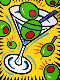 Burton Morris ~ Martini and Olives Pop Art