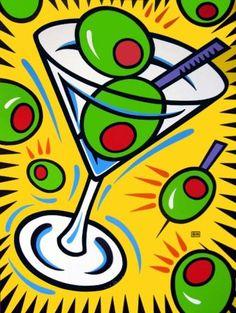 Burton Morris ~ Martini and Olives Pop Art