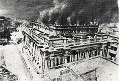 The Royal Opera House, Valletta, on fire.