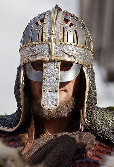 Jorvik Viking Festival 2012. Replica of Vendel Culture Valsgarde 6 helmet that predates Viking Era.