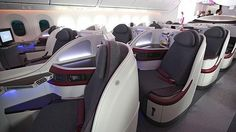 The interior of a Qatar Airways business class cabin on board the Boeing 787 Dreamliner. Boeing 787 Dreamliner, Aircraft Interiors, Best Airlines, Business Class, Travel News, Trip Planning, Travel Photos, Travel Inspiration, Car Seats