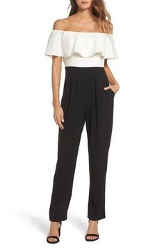 Main Image - Eliza J Off the Shoulder Jumpsuit (Regular & Petite) Off Shoulder Dresses, Off The Shoulder, Black Jumpsuit, Nordstrom Dresses, Cute Tops, Marie, What To Wear, Autumn Fashion, Dress Up