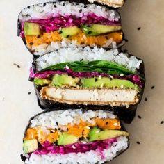 vegan onigirazu stack Sushi Sandwich, Lazy Cat Kitchen, Onigirazu, Balsamic Beef, Evening Meals, Food Items, Crockpot Recipes, Soup Recipes, Fresh