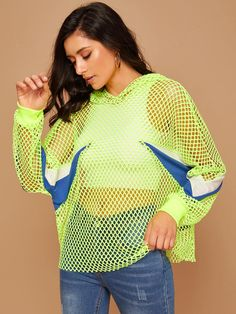 Neon Lime Chevron Dolman Sleeve Fishnet Hoodie