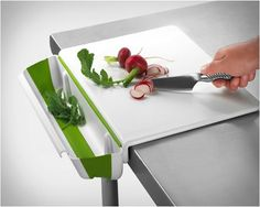 Cutting Board With Collapsible Bin – $24