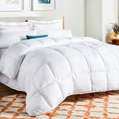 comforters for hot sleepers: LINENSPA All-Season White Down Alternative Quilted Comforter - Corner Duvet Tabs - Hypoallergenic - Plush Microfiber Fill - Machine Washable - Duvet Insert or Stand-Alone Comforter - Queen Fluffy Comforter, Twin Xl Comforter, Down Comforter, Duvet Bedding, Linen Bedding, Bedding Sets, Bed Linens, White Bedding, Bedrooms