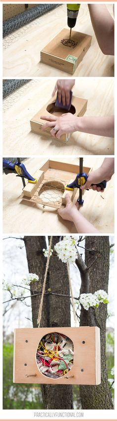 Turn a cigar box into a DIY bird nesting material holder in under an hour! Great way to attract birds to your yard and use up fabric scraps and yarn!