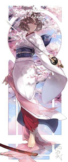 Sakura and brown hair eyes anime lady Anime Girl Cute, Beautiful Anime Girl, Kawaii Anime Girl, Anime Art Girl, Anime Girls, Manga Girl, Anime Kimono, Anime Angel, Anime Style
