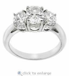 Three Stone Oval 1 Carat Center Cubic Zirconia Anniversary Engagement Ring